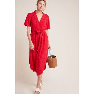 Anthropologie Maeve Aria Red Belted Midi Dress